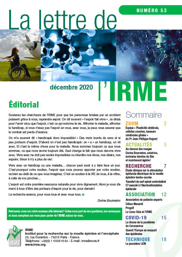 La lettre le l'IRME 53 - décembre 2020